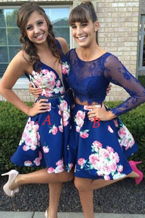 Two Piece Long Sleeve Homecoming Dresses,Open Back Appliques Short Prom Dress