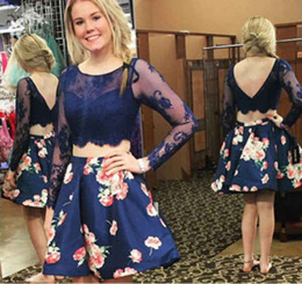 Two Piece Long Sleeve Homecoming Dresses,Open Back Appliques Short Prom Dress HCD158 - Ombreprom