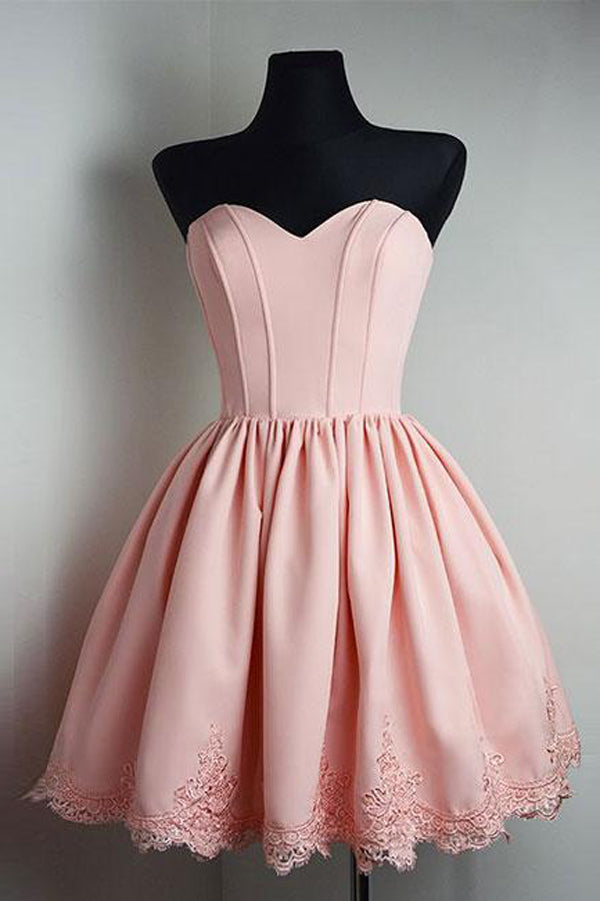 Pink Sweetheart Strapless Homecoming Dresses,Open Back Appliques Short Prom Dress H163
