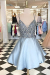 Blue Deep V Neck Spaghetti Homecoming Dresses,Open Back Sequins Beading Short Prom Dress H164 - Ombreprom