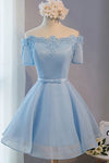 A-line Sleeves Off-shoulder Short Prom Dresses,Light Blue Tulle Homecoming Dress2017