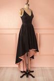 New V-neckblack Homecoming Dress,Black Satin High Low Prom Dress, A-line Prom Gown2017 HCD19 - Ombreprom