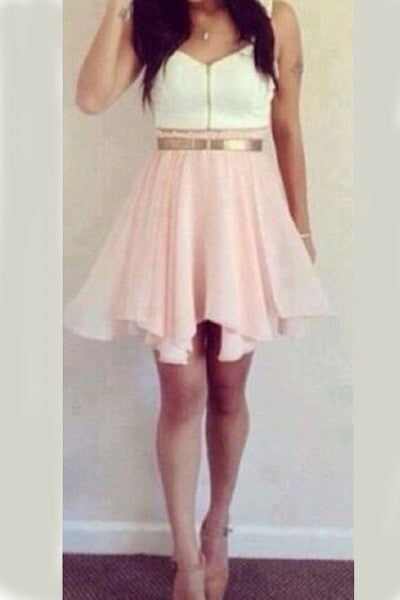 Cute Pink And White Homecoming Dress! School Dance Please! Pink and White dress with Gold Belt HCD21 - Ombreprom