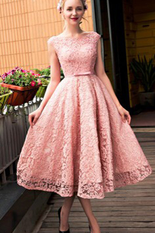 Pink Lace Homecoming Dress,Mid Prom Dress,Tea Length Bridesmaid Dress2017