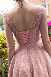 Pink Lace Homecoming Dress,Mid Prom Dress,Tea Length Bridesmaid Dress2017 HCD22 - Ombreprom