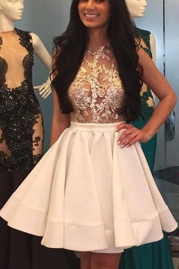 A Line Cocktail Homecoming Dresses ,Jewel Neck Sleeveless Short Prom Dresses With Pleats HCD23 - Ombreprom