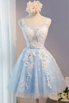 Light Blue Homecoming Dress,Tulle Lace Applique O-neck Short Prom Dresses with Straps