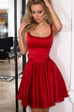 Cute A-Line Homecoming Dresses,Red Backless Satin Burgundy Cocktail Short Prom Dresses HCD26 - Ombreprom