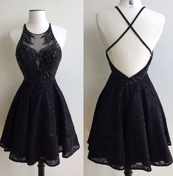 Black Round Neck Lace Beaded Short Prom Dress, Cute Sleeveless Homecoming Dress HCD27