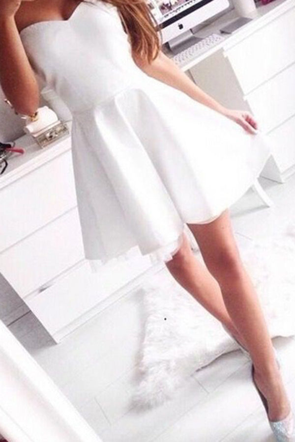 Simple White Homecoming Dress, Sweetheart Lace Short Prom Dresses HCD31