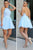 Sexy A-line Chiffon Homecoming Dress, Light Blue Backless Lace Top Short Prom Dress