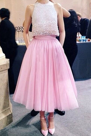 Two Pieces Pink Tulle Homecoming Dresses, Modest Sheer Appliqued Beaded Short Prom Dress HCD46