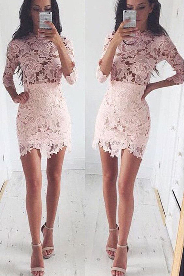 Long Lace Sleeve Bodycon Cocktail Homecoming Dress,Irregular Short Prom Dress HCD34