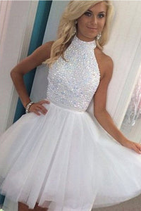 Sleeveless High Neck Homecoming Dress,Short White Appliqued Beaded Tulle Prom Gowns