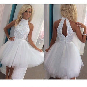 Sleeveless High Neck Homecoming Dress,Short White Appliqued Beaded Tulle Prom Gowns HCD51