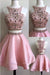 Two Piece Pink Stain Homecoming Dresses, Sleeveless Appliqued Beaded Short Prom Dress HCD52