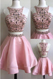 Two Piece Pink Stain Homecoming Dresses, Sleeveless Appliqued Beaded Short Prom Dress
