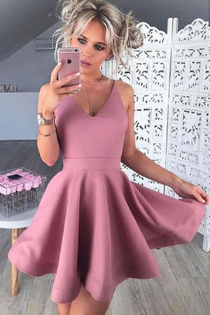 A-Line V-Neck Homecoming Dress,Sleeveless Short Blush Satin Prom Dress HCD56 - Ombreprom