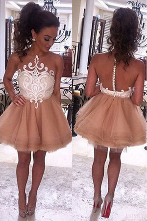 Sexy A Line Tulle Layers Homecoming Dress,Sleeveless Open Back Short Prom Dress