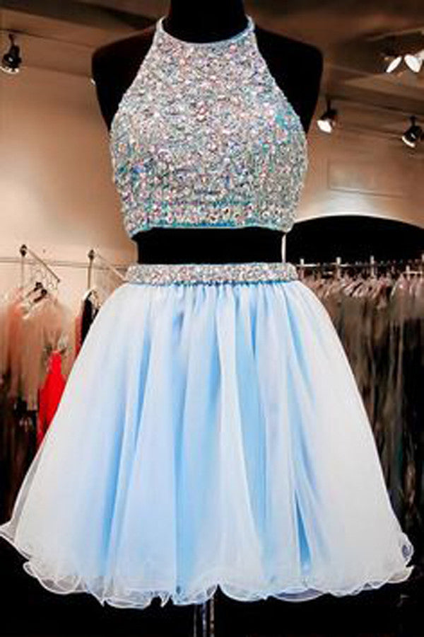 Simple Two Pieces Sleeveless Homecoming Dress,Halter Pearls Beading Crop Top Short Prom Dresses