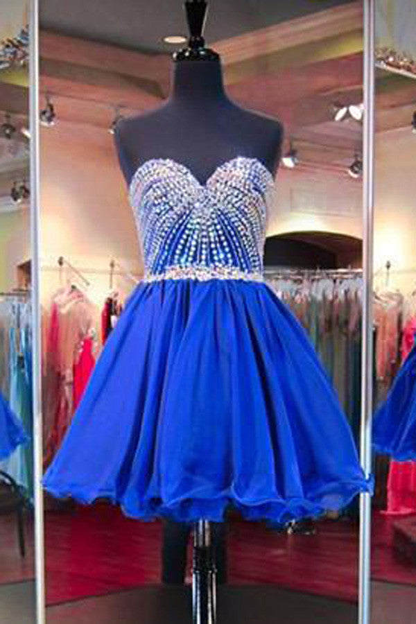 Simple Sleeveless V Neck Homecoming Dress,Sweetheart Appliqued Beaded Short Prom Dress