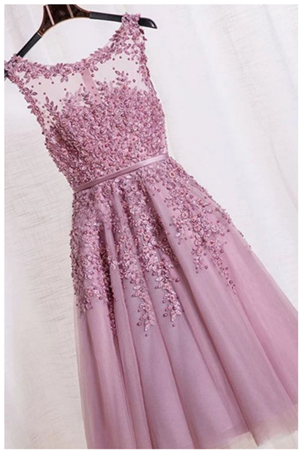 Elegant Appliques Beaded Homecoming Dresses, Tulle Printing Short Prom Dress