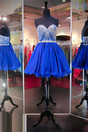 Simple Sleeveless V Neck Homecoming Dress,Sweetheart Appliqued Beaded Short Prom Dress HCD59