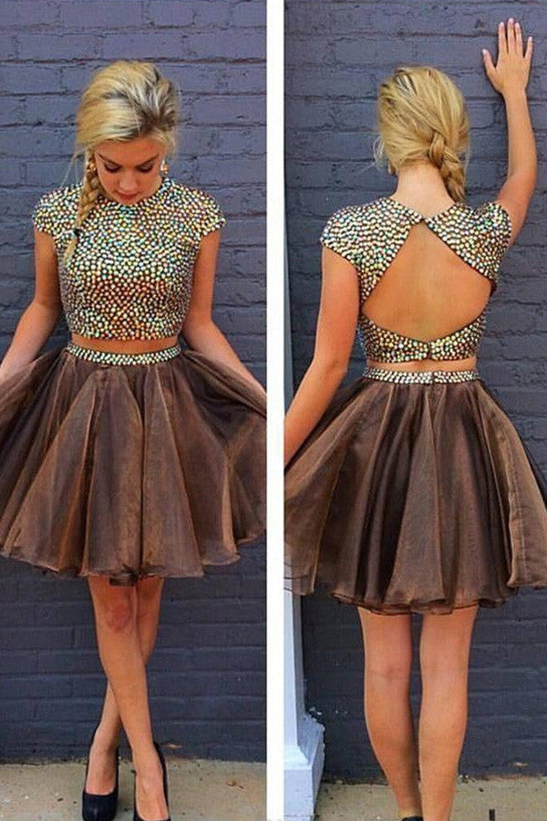 Two Pieces Chocolate Homecoming Dress,Ball Gown Jewel Backless Lace Short Prom Dress