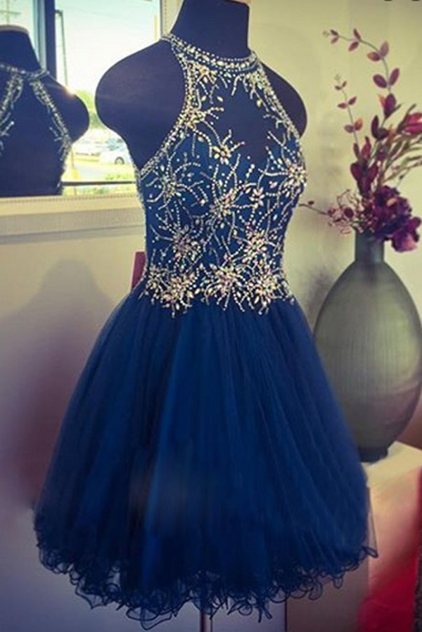 Royal Bule A Line Tulle Homecoming Dresses, Modest Sheer Appliqued Beaded Short Prom Dress HCD63 - Ombreprom