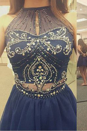 A Line Homecoming Dresses, Modest Sheer Appliqued Beaded Short Prom Dress HCD64 - Ombreprom