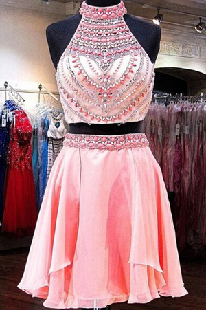 Cute Pink Sleeveless Chiffon Homecoming Dress,Appliqued Beaded Strapless Short Prom Dress HCD74 - Ombreprom