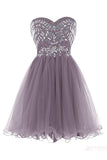 Classy Sleeveless Strapless Homecoming Dresses,Lace Up  Beaded Short Prom Dress HCD76 - Ombreprom