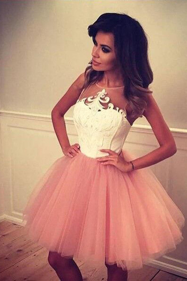 Layers Lace Appliques Short Prom Dress, Cute Sleeveless Homecoming Dress