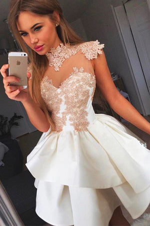 Wrapped Chest Homecoming Dress,Sleeveless Appliques Satin Short Prom Dress HCD81 - Ombreprom