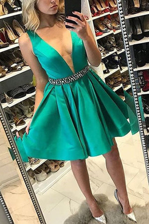 Sexy Deep V Neck Homecoming Dress,Sleeveless Satin Short Prom Dress With Belt