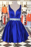 Sexy Deep V Neck Homecoming Dress,Sleeveless Satin Short Prom Dress With Belt HCD82 - Ombreprom