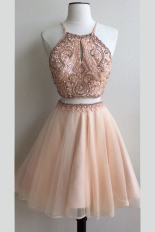 Two Piece A Line Tulle Homecoming Dresses, Open Back Appliqued Beaded Short Prom Dress