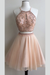 Two Piece A Line Tulle Homecoming Dresses, Open Back Appliqued Beaded Short Prom Dress HCD83