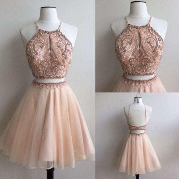 Two Piece A Line Tulle Homecoming Dresses, Open Back Appliqued Beaded Short Prom Dress HCD83 - Ombreprom