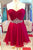 Elegant Red Sleeveless Chiffon Homecoming Dress,Wrapped Chest Short Prom Dress With Beading HCD84 - Ombreprom