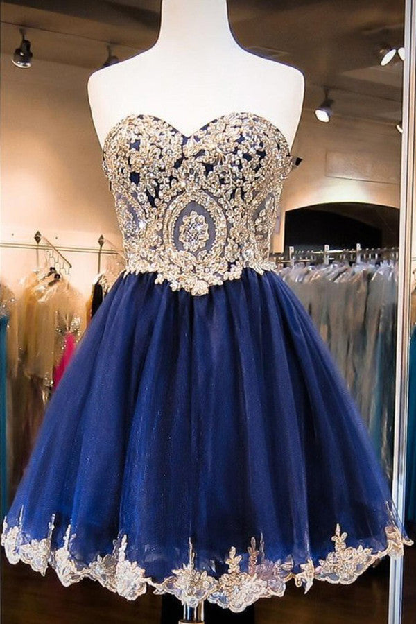 Illusion Layers Tulle Homecoming Dress,Ball Gown Wrapped Chest Appliqued Beaded Short Prom Dress
