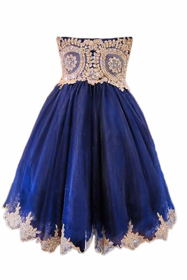 Tulle Homecoming Dress, Appliqued Beaded Short Prom Dress HCD86