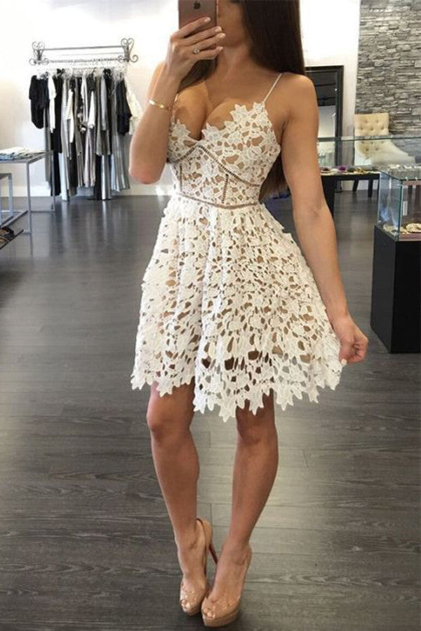 Sexy Deep V-Neck Homecoming Dress,Two Straps Sleeveless Hollow Short Prom Dress