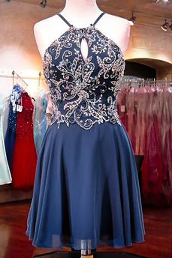Sexy Halter Sleeveless Homecoming Dress,Appliqued Beaded Open Back Chiffon Short Prom Dress