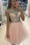 Sweetheart Layers Tulle Sheer Homecoming Dress,Ball Gown Beading Short Prom Dress HCD95