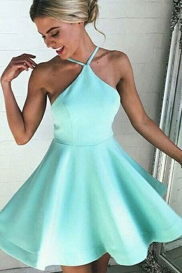 Simple Mint Halter Homecoming Dress,Backless Stain Short Prom Dress HCD98