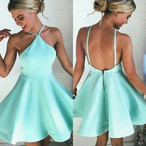 Simple Mint Halter Homecoming Dress,Backless Stain Short Prom Dress HCD98 - Ombreprom