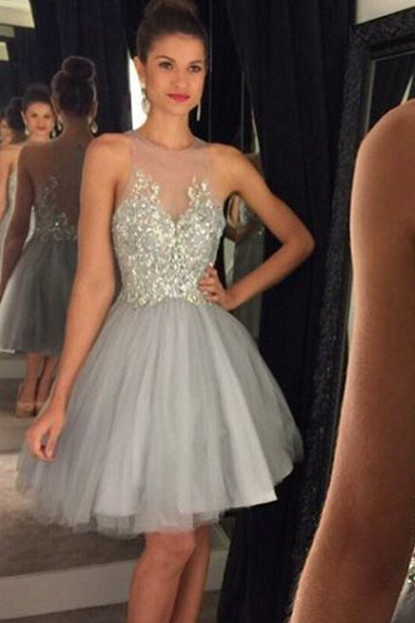 Gray Layers Tulle Sleeveless Homecoming Dress,Sheer Beading Short Prom Dress HCD99