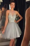 Gray Tulle Sleeveless Homecoming Dress,Sheer Beading Short Prom Dress HCD99