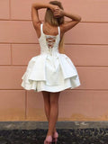 Excellent V-neck Satin Short Length Ball Gown Homecoming Dress M453
